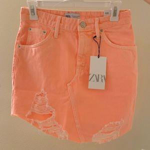 Zara bright orange neon distressed denim skirt